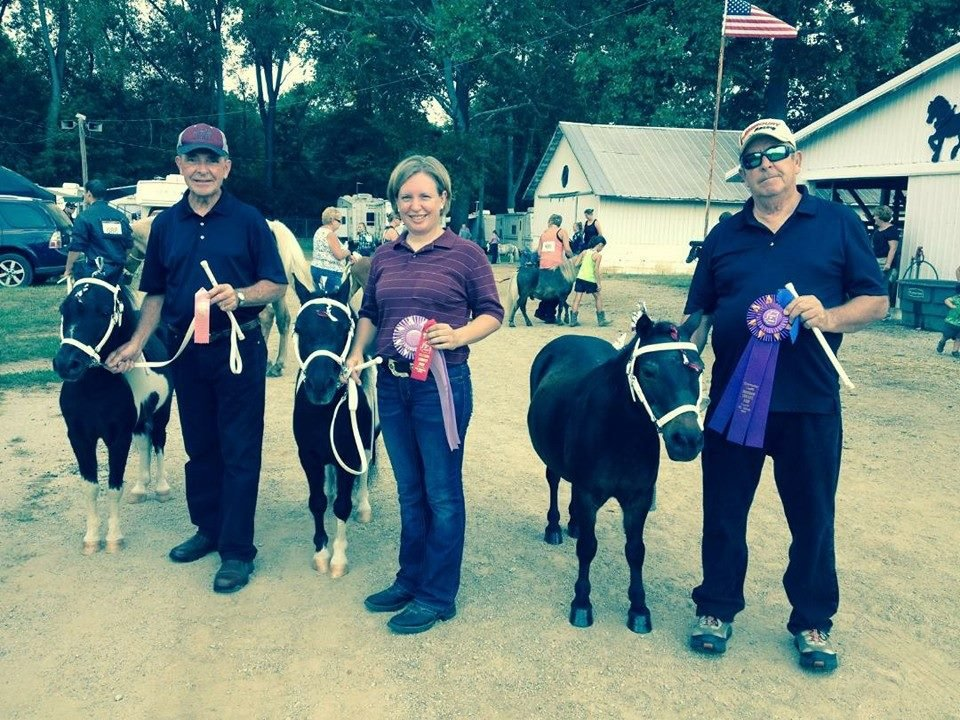 My dad (Ed - left) and my uncle (Bill - right) helped me show my minis in the halter classes at the fair.
