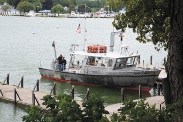 The staff at Stone Lab uses this boat to conduct various research projects in Lake Erie.