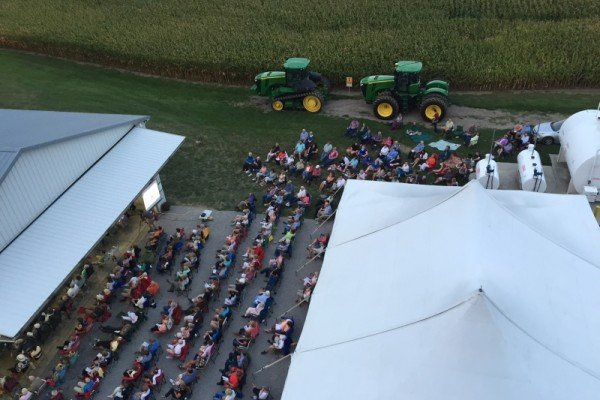 An aerial view of Benefit in the Barn