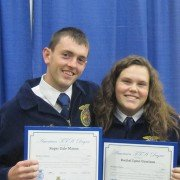 Roger Mason and Rachel Garrison posing with their American FFA Degrees