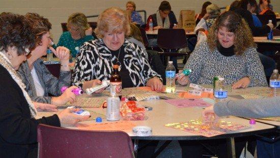 At the FFA Alumni Basket Bingo participants play bingo for Longaberger baskets