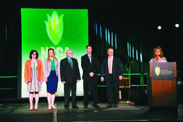 From the left, OCWGA project manager Ellen Gilliland, communications manager Stacie Seger, director of market development and membership Brad Moffitt, president Chad Kemp, and executive director Tadd Nicholson were recognized at Commodity Classic in New Orleans for their work with membership in Ohio.