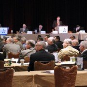 NPPC delegates discussing business at the National Pork Industry Forum in early March.
