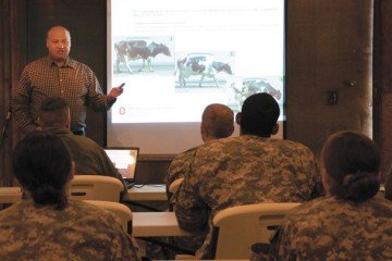 Ohio State University Extension beef specialist Steve Boyles covered a wide variety of livestock-related topics for the soldiers.