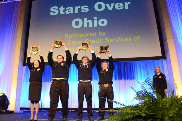 Stars over Ohio Maggie Hovermale, Stoneridge-Pickaway Ross, Star in Agricultural Placement; Shaun Wenrick, Anna, Star in Agribusiness; Nathanael Freeman, Zane Trace, Star in Agriscience; and Clay Gerfen, Ridgemont Star Farmer; were announced.