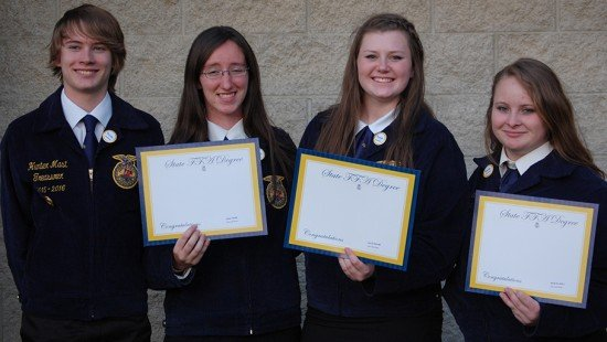 Hunter Mast Diane Yoder Tallie Troyer and Natalie Lovell posing during State Convention. Hunter, and Diane participated in the FFA band, and Diane, Tallie, and Natalie received there State Degree