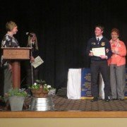 Doris Disher, wife of the late Les Disher, awarded the first ever Les Disher Leadership Award to Anthony Wayne FFA member Jacob Gase.