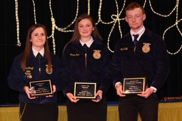 Chapter Star Farmer Bailey Gompf, Chapter Star Greeenhand Morgan Beck,Chapter Star in Agricultural Placement Jake Wayt