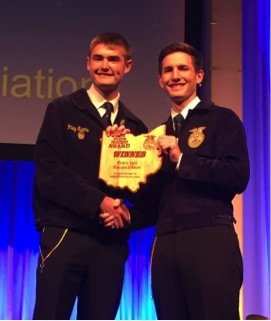 Riley Evans, Senior FFA member, won the State Poultry Production Proficiency Award based on his Supervised Agricultural Experience  at Ohio FFA Convention on May 6th.
