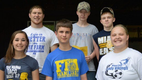 Miami East-MVCTC FFA members attending the 2016 FFA Camp were (front row, L to R) Jessica Gillum, Alex Zapadka, Katie Bodenmiller, (back row, L to R) Daniel Everett, Couy Moreland, and Morgan Moreland