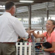 Kylee Johnson, Wayne Co., gets the handshake for Grand Champion.