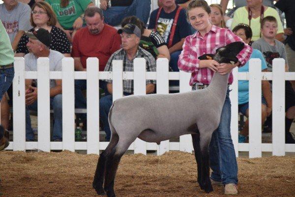 Mackenzie Cory, 10, Fayette Co. with her Grade market lamb