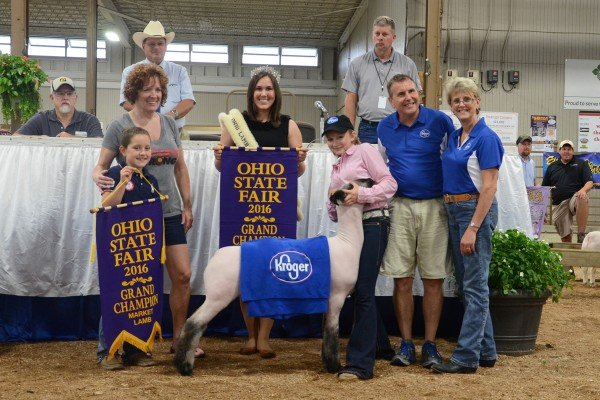The 137-pound 2016 Grand Champion Open Class Lamb shown by Paige Pence of New Carlisle was purchased by Kroger for $2,700.