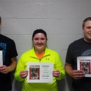 Pictured L-R are Fort Recovery Vocational Scholarships recipients Adam Schmitz, Leah Kunk, and Nate Knapke.