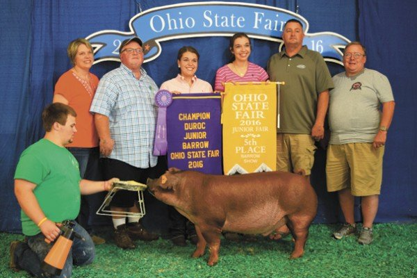 The Champion Duroc exhibited by Jenna Siegel of Marion sold to Huffman's Markets for $3,100.