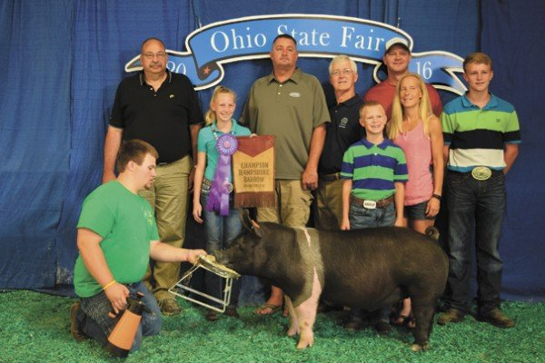 The Champion Hampshire exhibited by Kelsey Vollrath of South Charleston sold to McDonald and Son Feed and Grain, United Producers, Inc., and Nationwide Insurance for $1,900.