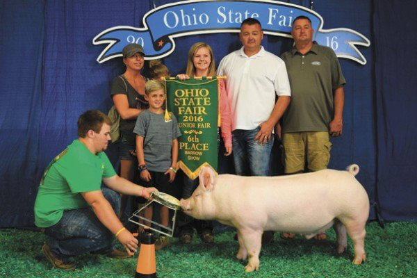The Champion Yorkshire exhibited by Brilea Bishop of Jamestown sold to Huffman's Markets for $3,100.