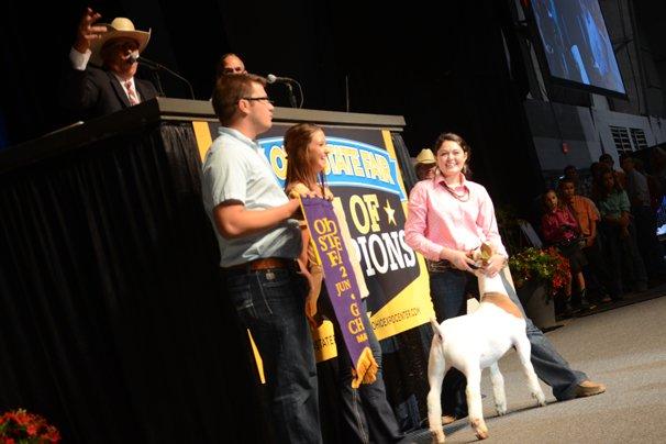 The Grand Champion Market Goat was exhibited by Taylor Carr of Athens County and sold to Denny Miller Direct Feeds, the Ohio Harness Horseman's Association and Kale Marketing for $15,000.