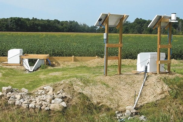 This is a two-stage ditch on display with edge of field monitoring equipment on the Kurt Farm in Dunkirk.