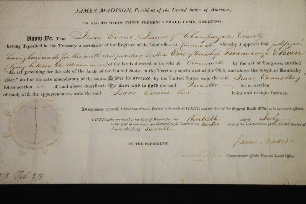 The original deed for the farm is signed by President James Madison.