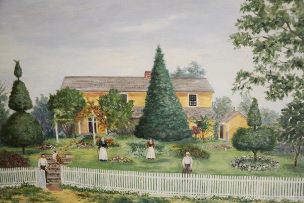 This is a painting of the first home on the farm.