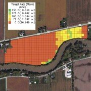 This grid map shows the application rates for the Koepke farm, which in many areas are zero.