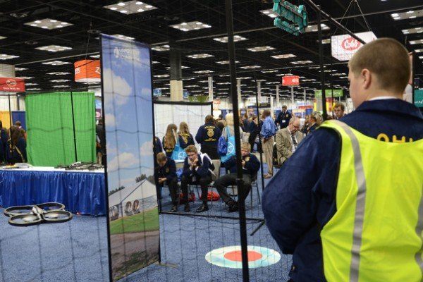 Colton Thobe, from the Tri-Village MVCTC Chapter got to fly a drone at the U.S. Poultry Foundation booth at the trade show.