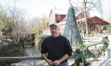 Anthony Satariano starts getting the Christmas display at the mill ready in August.