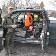 Morrow County Wildlife Officer Tyler Eldred is prepared for any eventuality as he prepares to share his patrol duties during the opening day of deer gun season with the author.