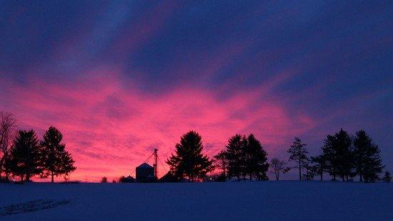 Grain bin sunset 1-6-14
