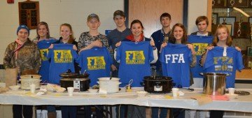 The FFA's Chili Cook-Off participants were (L to R) Bailey Buck, Ashley Hawkins, Jessica Copeland, Zach Kowalak, Colton Kowalak, Carly Gump, Alex Isbrandt, Emma Linn, Blade Snyder, and Aligha Ulsh.