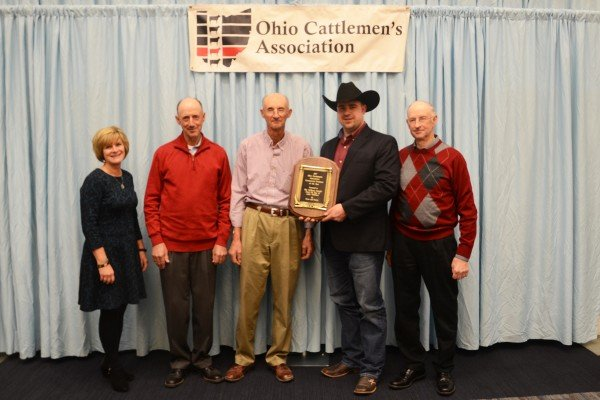 "The Vollborn Family from Gallia County was honored with the Commercial Producer of the Year Award presented by Susan Crowell, Editor of the ""Farm and Dairy."""