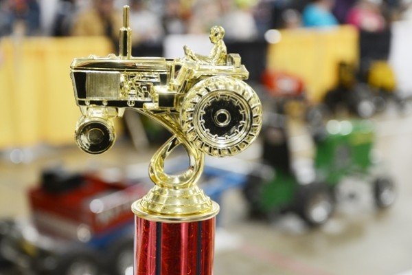 Youth vied for this trophy in from the National Kiddie Tractor Pullers Association.