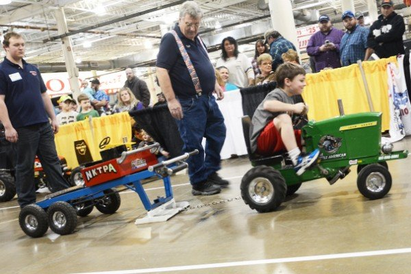 T.J. Logan from Amherst managed a 27-foot pull in the  National Kiddie Tractor Pullers Association competition.