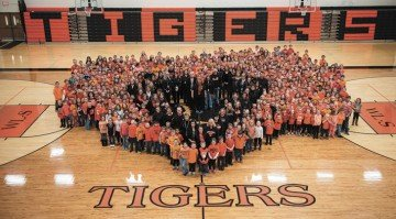 There was incredible community support, including from the elementary students, for Logan Cole and his family after he was seriously injured in a school shooting in January at West Liberty-Salem. Photo provided by WL-S.