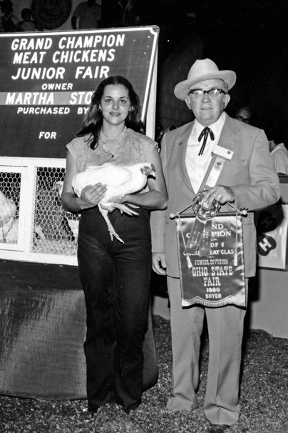 The 1980 grand champion pen of meat chickens was exhibited by Martha Stock of Canton and purchased by Bob Evans Farms, Inc. for $8,080. Photo courtesy of the Ohio State Fair.