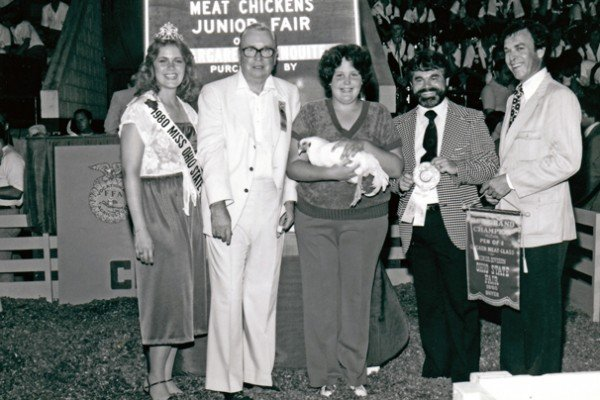 The 1980 grand champion meat chickens were exhibited by Margaret Penquite from Blanchester and purchased by Super Duper Stores in Westerville for $3,000.