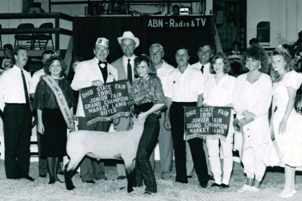 The 1990 grand champion market lamb was exhibited by Stacie Williamson and sold to Kroger for $11,700.