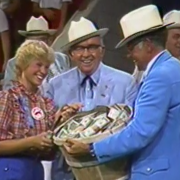 Bob Evans at a Sale of Champions in the mid-80s where he gave out his memorable bushel basket of dollar bills.