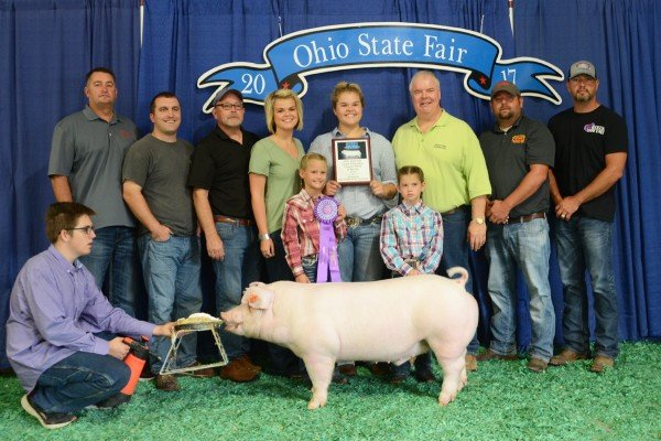 The Champion Chester White exhibited by Lillian Rees of Bidwell sold to Buckeye Barrow Boosters, Dean's Pawn, Foster Sales, Ohio Valley Pig Sale, Ryan Smith State Rep. for $4,300.