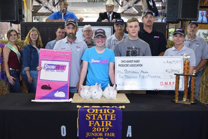 The Grand Champion Rabbit Meat Pen, exhibited by Brittany Modra, from Monroe Country, sold for $6,800 to Direct Feeds and Show Rite Feeds as well as Tony & Denny and The Millers.