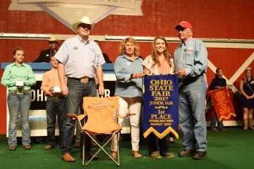 Allison Davis, 15, Carroll Co., was the first place Outstanding Market Beef Exhibitor. Sydney Sanders, Highland Co., 11, was second and Carly Sanders, Highland Co., 9, was third. The other Beef Outstanding Market Exhibitors were: Hayden Smith, Holmes Co., 10; Montana Hulsmeyer, Allen Co., 12; Luke Brinksneader, Darke Co., 13; Alex Linder, Huron Co., 14; Lori Millenbaugh, Crawford Co., 16; Morgan Mazey, Wood Co., 17; and Kady Davis, Carroll Co., 18.