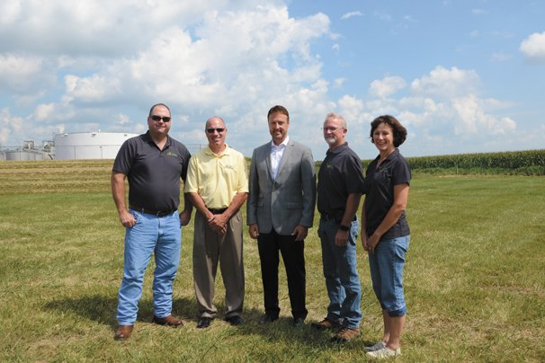 Anthony Bush, Morrow County farmer and National Corn Growers Association board member, Keith Truckor, Fulton County farmer and chair of the Ohio Corn Checkoff Board, Jeff Broin, CEO of POET, John Linder, Morrow County farmer and National Corn Growers Association board member, and Kelly Harsh, Ohio Corn and Wheat Growers Association board member, attended the groundbreaking ceremony for the POET expansion in Marion.