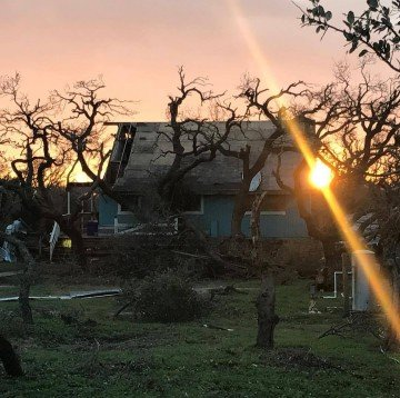 The home of the Miller family near the coast in Rockport, Texas — the building was lost but the family and the livestock are safe. Photo by Hannah Morgan Miller.