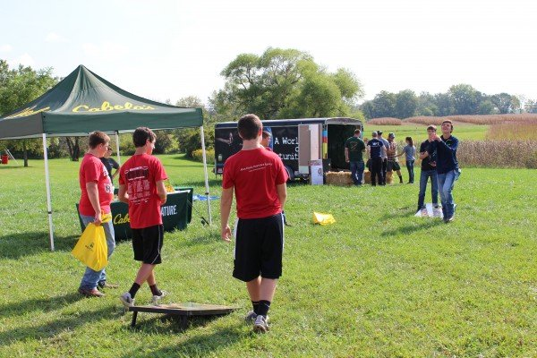 A game of corn hole at the Gwynne