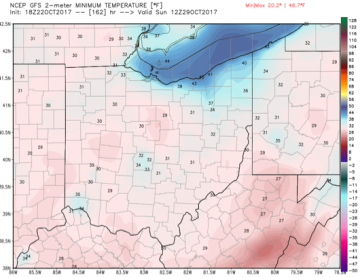 Potential morning lows Monday morning