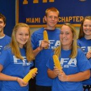 Winners of the Miami East-MVCTC FFA Corn Contest were (front row, L to R) Paige Pence, Kearsten Kirby, (back row, L to R) Jacob Sweitzer, Adam Bensman, and Lauren Wright.