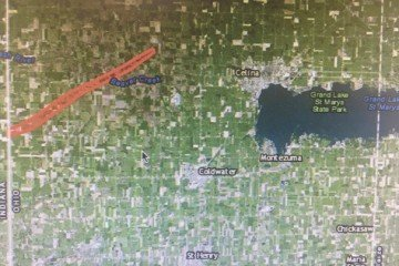 From the National Weather Service, the red area marks the swath of one of the Mercer County tornadoes.