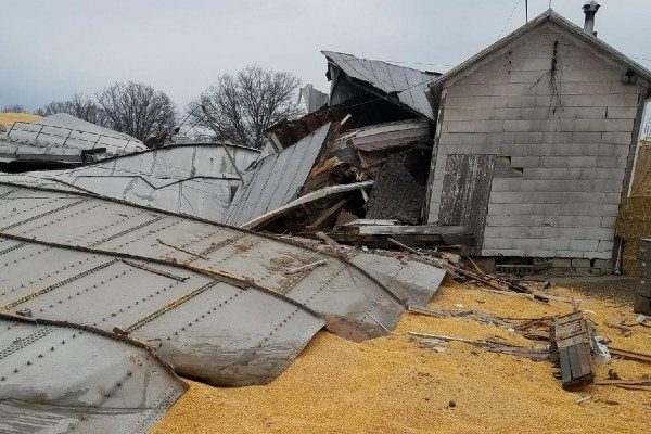 At Miami Valley Feed and Grain in New Carlisle a grain tank collapsed late on Jan. 21, spilling around 365,000 bushels of corn worth over $1.25 million.