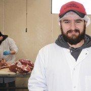 David Ford grew up working with his family at Bay Packing and is now manager of the a state-inspected facility that specializes in beef, pork, goat, lamb, and old-fashioned skin-on roasting hogs in Fairfield County.